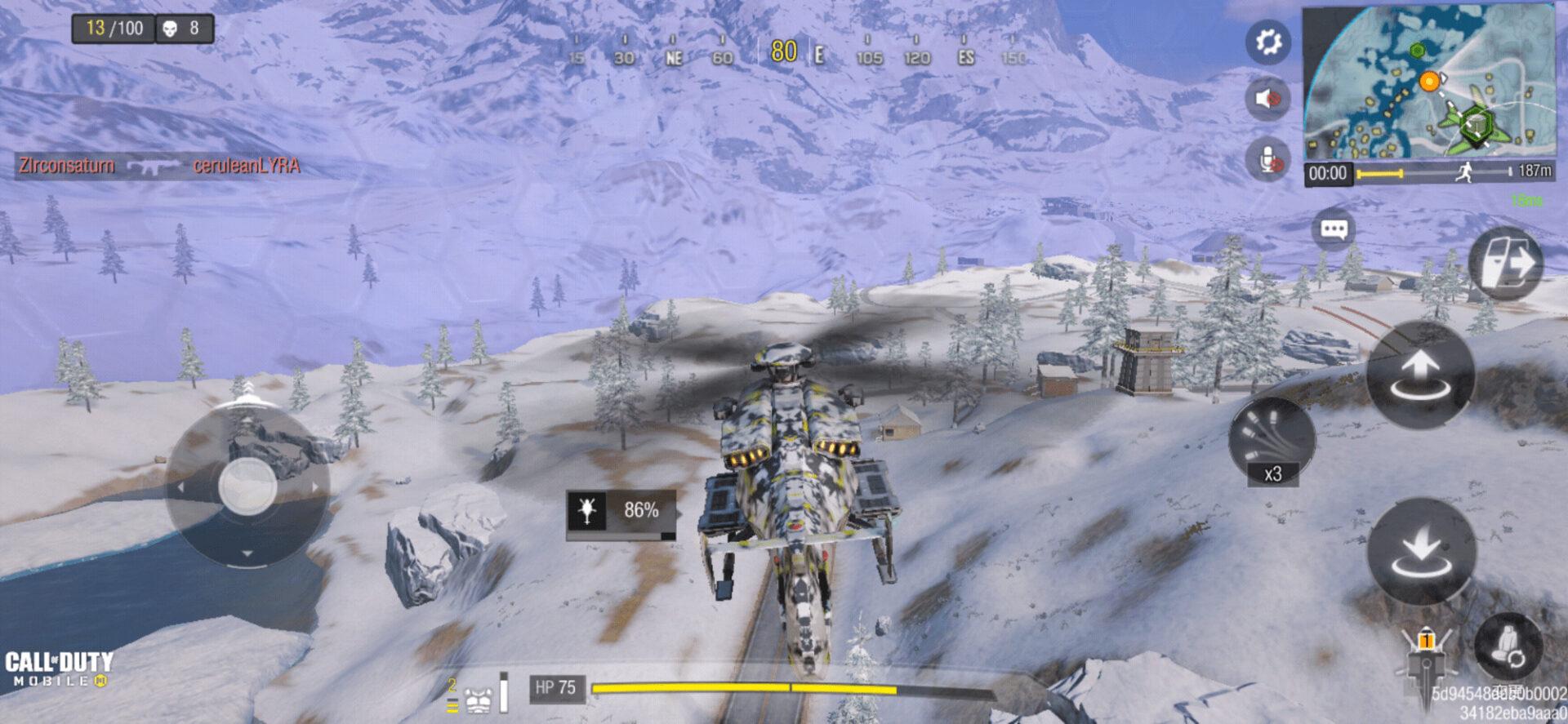 Call of Duty®: Mobileのバトルロイヤルでヘリコプターを操縦している様子