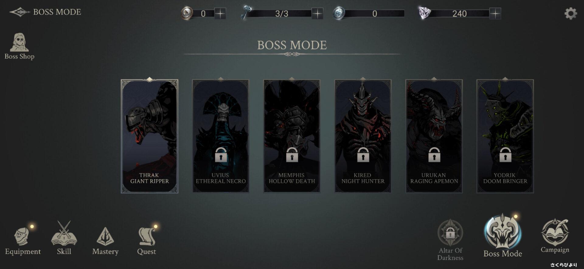 Shadow Hunter : Lost World のBOSS MODEの画面。